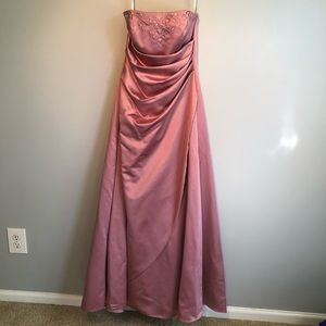 David's Bridal Pink Formal Gown with Beading